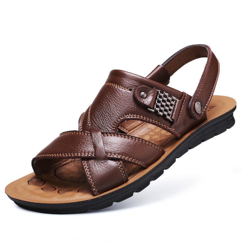 Genuine Leather Men's Sandals Top Layer Cowhide 2 Function 1 Price Open Toe Slip Fashion Casual Roman Beach Slippers