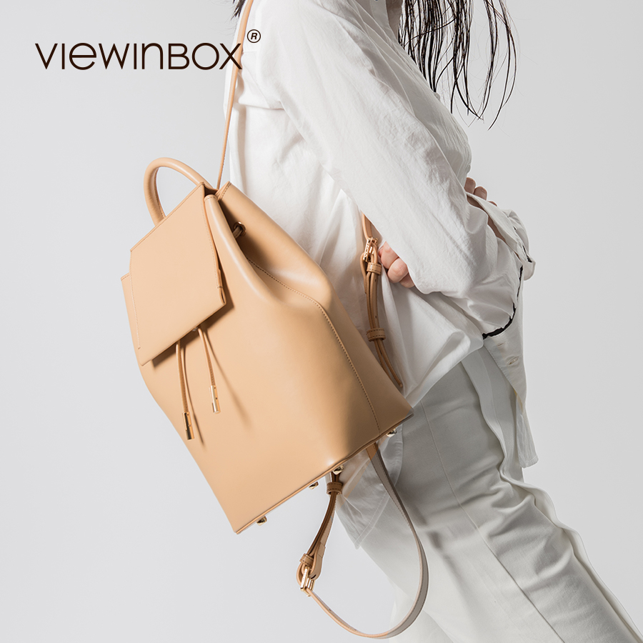 Viewinbox Designer Split Leather Women Backpack Drawstring School Bags For Teenagers Girls Female Street Fashion BackPack evispo fashion designer cow genuine leather women backpack drawstring school bags for teenagers girls female travel back pack