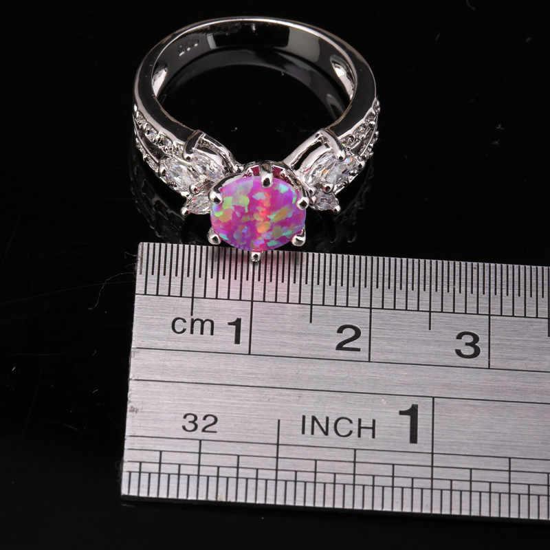 Fabulous Big Round Pink Fire Opal และเครื่องประดับ 925 เงินสเตอร์ลิงอินเทรนด์ Party เครื่องประดับ Us # ขนาด SF1035