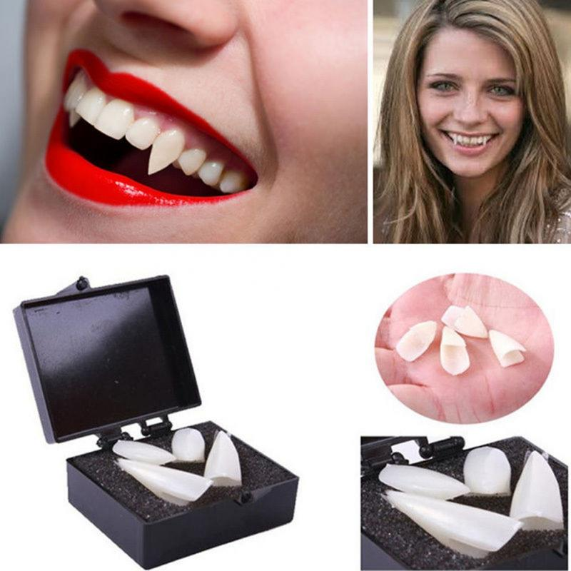 4pcs Funny False Teeth Set Horrible Dress Teeth Party Props For Halloween Vampire Dentures