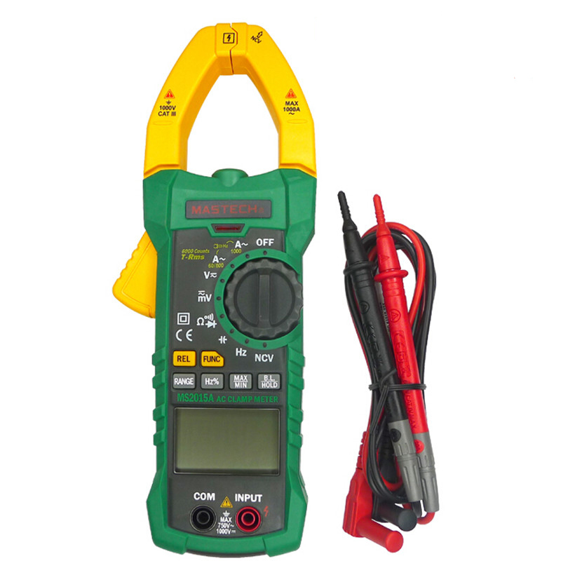 AutoRange Digital AC 1000A Current Clamp Meter True RMS 6000 Counts Multimeter Current Frequency Capacitance Tester mastech ms2015b 6600 counts 1000a ac clamp meters w capacitance frequency temperature
