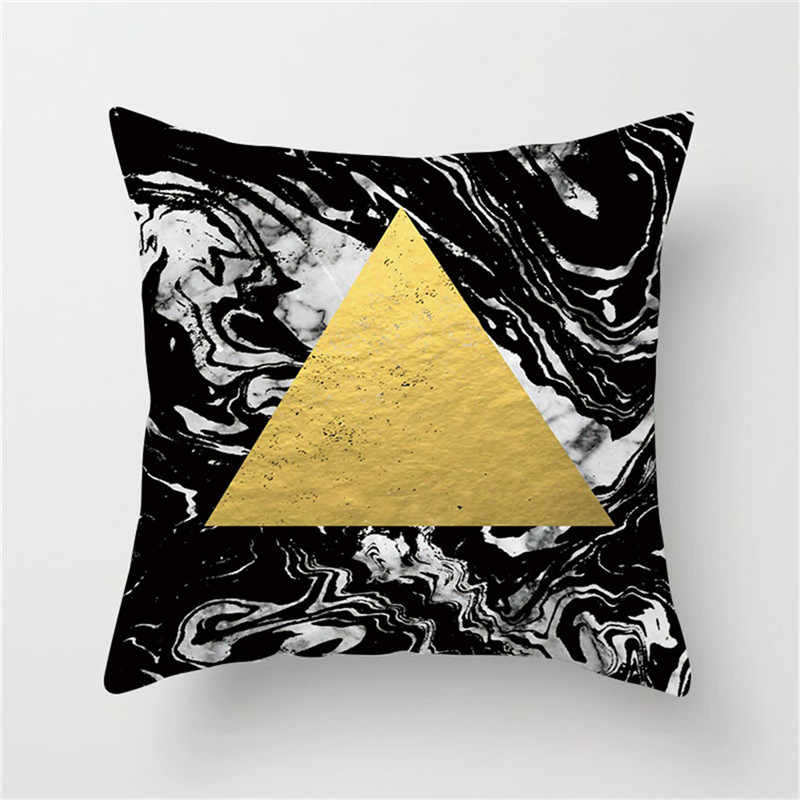 Fuwatacchi גיאומטרי משולש כרית כיסוי שחור זהב לבן כרית כיסוי בית ספה דקורטיבי ציפית מכונית כרית כיסוי