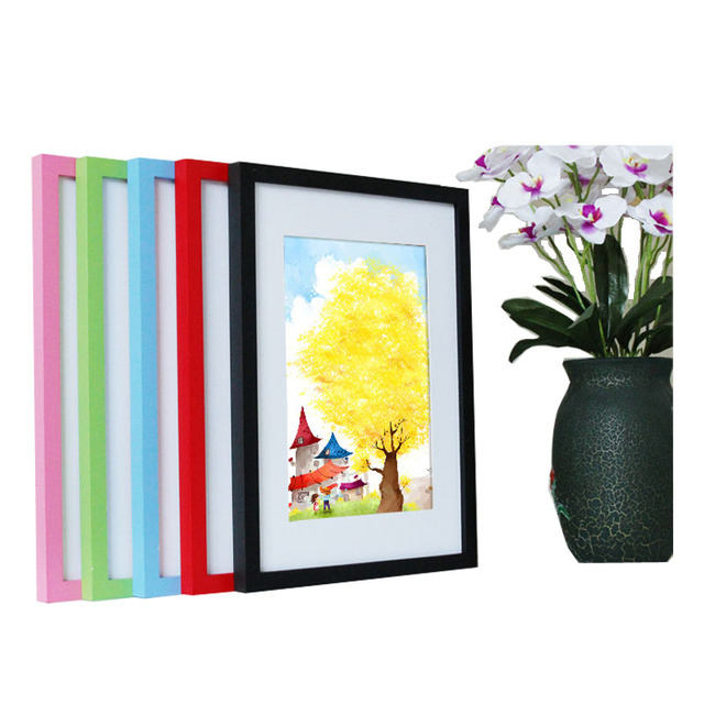 14 Colors Solid Wood Photo Frame Square Size 5 6 7 8 10 12 14 16inch