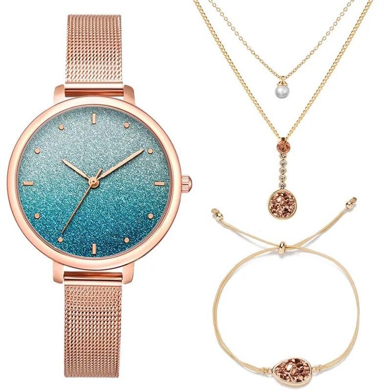 Women Jewelry Watches Set Simple Rose Gold Starry Quartz Watch Ladies Necklace Bracelet Fashion Watch 3 Pcs Sets Clock With Box