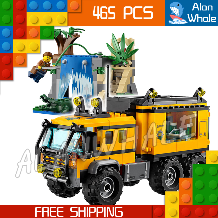 465pcs City Explorers Jungle Mobile Lab Waterfall 10711 Model Building Blocks Assemble Bricks Children Toys Compatible With Lego lepin city building blocks sets explorers jungle halftrack mission bricks classic model kids toys marvel compatible legoe