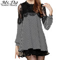 2016 Casual Dresess Autumn New Women Loose Vintage Black Plaid Lace Dresses Tunics Vestidos Roupa Robe Femme Plus Size 3XXXL~M