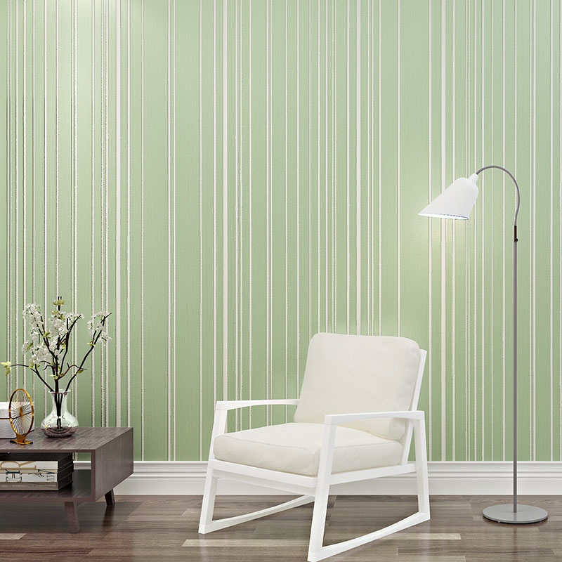 beibehang Simple green striped Mural wallpaper modern flock wall paper roll papel de parede tapete bedroom wall paper home decor