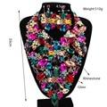 Nueva Joyería de La Manera KC Chapado En Oro Collar de Flores de Cristal Pendientes para Las Mujeres Del Banquete de Boda Perlas Africanas sistemas de La Joyería de LF G006