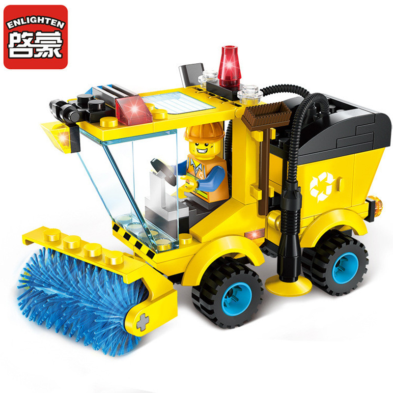 Enlighten Building Block Sweeper Car Truck Building Block Set Model 102+pcs Educational DIY Construction Bricks Playmobil Toys enlighten building blocks military submarine model building blocks 382 pcs diy bricks educational playmobil toys for children