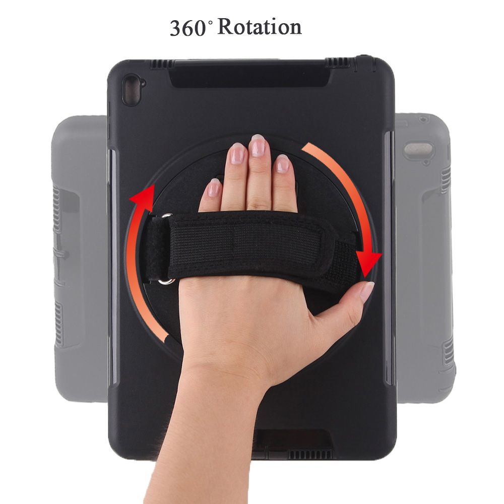 Case for iPad Pro 9.7 with 360 Degree Rotating Hand Strap and Kickstand, Miesherk Heavy Duty Shockproof Drop Protection Cover