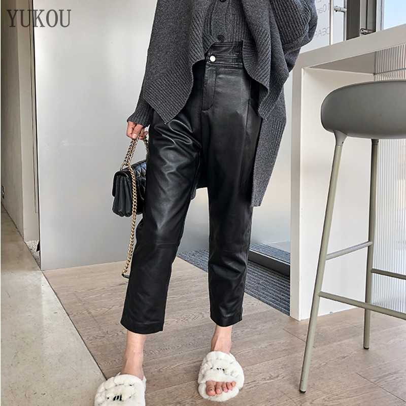 Women Pants 100% Genuine Sheep Leather 2019 Fashion Real Genuine Sheep Leather Crop Jeans Harem Pants