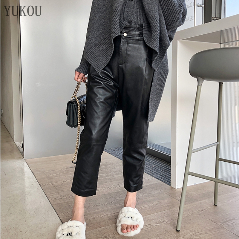 Women Pants 100% Genuine Sheep Leather 2019 Fashion Real Genuine Sheep Leather Crop Jeans Harem Pants