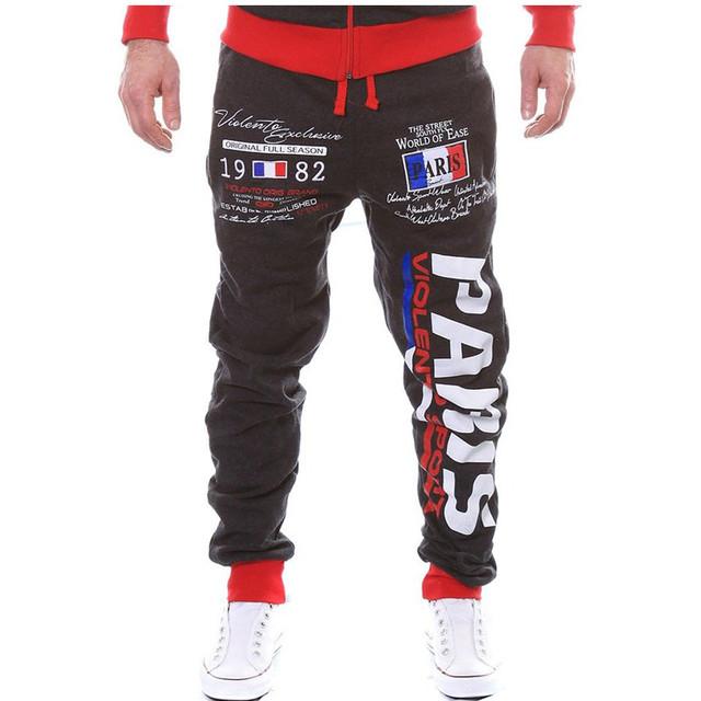 Pantalones Deportivos Hombres Pantalones Casuales de Los Hombres de Diseño Marca de moda Carta Paris Impresa Con Bolsillos Para Hombre Pantalones de Chándal Loose Harem Joggers