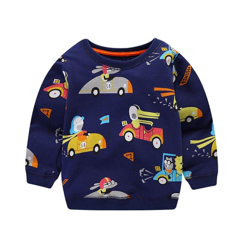 2018 новый для маленьких мальчиков длинные рукава весна-осень зима футболка Дети милые мода мультфильм футболка с принтом некоторые автомоби...