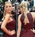 2016 Sexy Gossip Girl Blake Lively Em Cannes Celebridade do Tapete Vermelho Vestidos Chiffon Alta Dividir Vestidos de Noite Formal do baile de Finalistas Do Partido