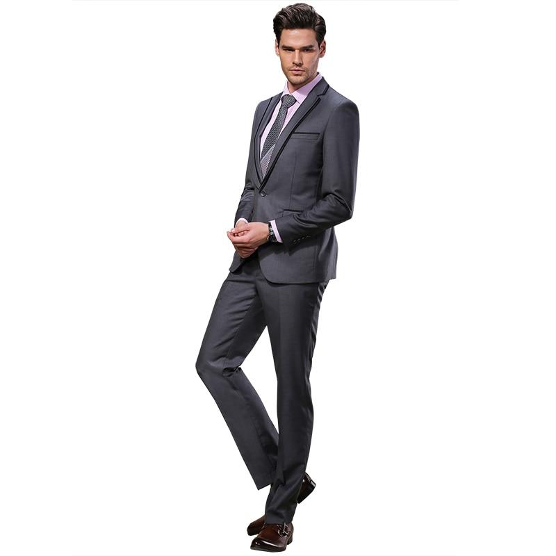 2019 DARO Mannen Past Slim Custom Fit Tuxedo Grijs pak en Broek Merk - Herenkleding - Foto 5