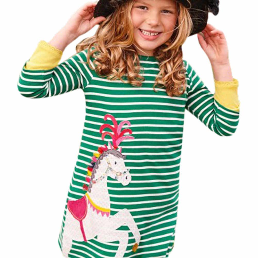 Crianças crianças vestido para a menina vestido meninas primavera outono casual algodão mangas compridas vestidos impressos roupa infantil