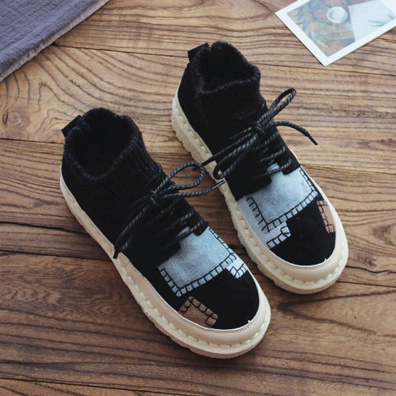 negro Beige gris Botas Planas marrón Casuales Solos Fondo Literaria Cordones Lana Botines Tubo Chica Plano De Zapatos Retro Japonesa Mujeres Cómodo txUTqpwR4