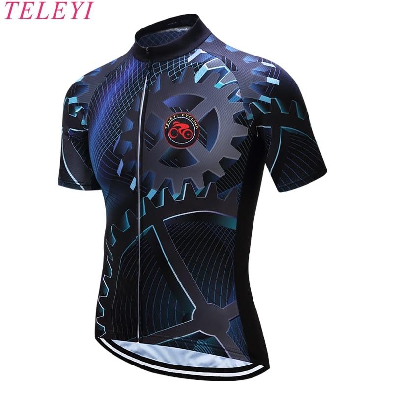 TELEYI 2017 hombres Ciclismo <font><b>Jersey</b></font> de La Bicicleta Short Bike Wear Camisa de Manga Deportes Top Azul xs,S, M, L, XL, 2XL,3xl