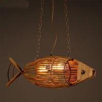 Rural Vintage E27 Restaurant Fish Weave Wood Lamp Ceiling Light Droplight Lighting Decor Loft Corridor Cafe Bar Store Home Decor