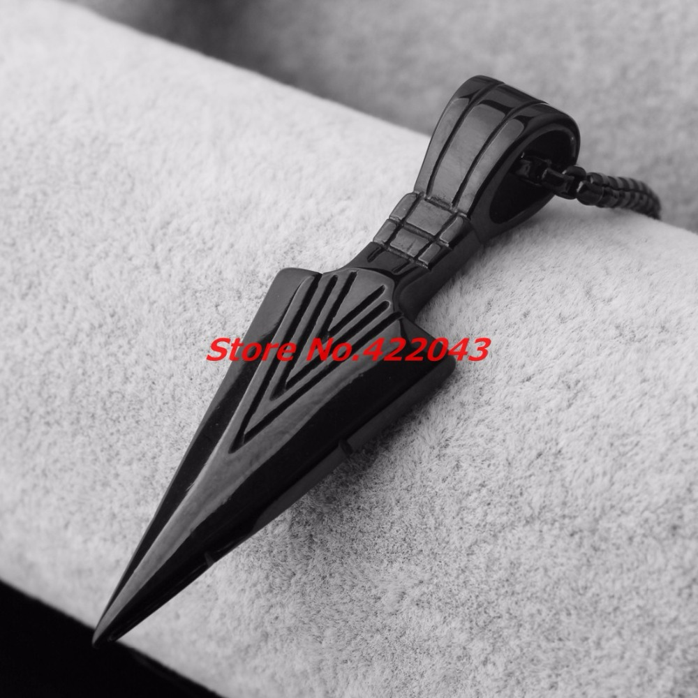 Striking Mens Necklaces Stainless Steel Black Spearhead Arrowhead Pendant Necklace for Men Special Surf Bike Chocker Jewelry