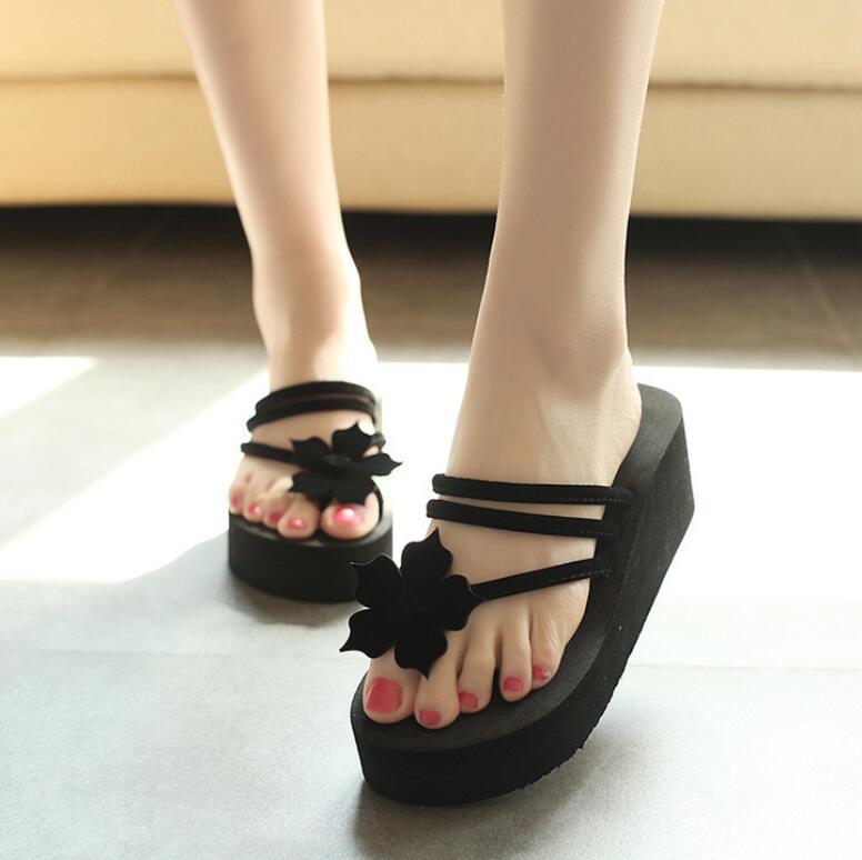 2018 new women small flower flip flops wedges heel female shoes summer sandals beach light t017 стоимость