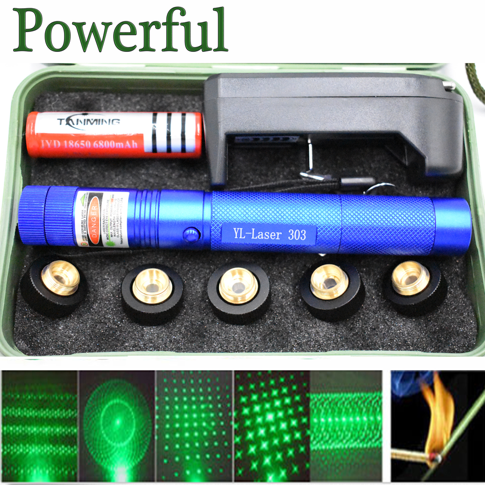 High Power green Laser Sight 303 Pointer 8000m 5mW Long Distance Starry Head Burning Match Tactical Lazer Pointer Strong pen