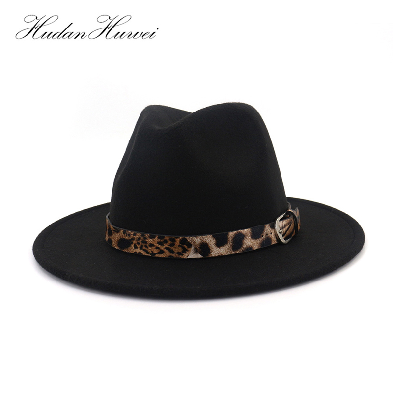 b92695082 Unisex Leopard Jazz Fedora Hat Men Women Plain Wool Felt Hats Flat Brim  Panama Trilby Leather Buckle Decorated Black 12 Color