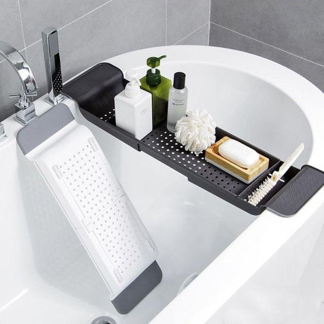 욕조 욕조 선반 캐디 샤워 확장 가능한 홀더 랙 스토리지 트레이 욕실 샤워를위한 다기능 주최자