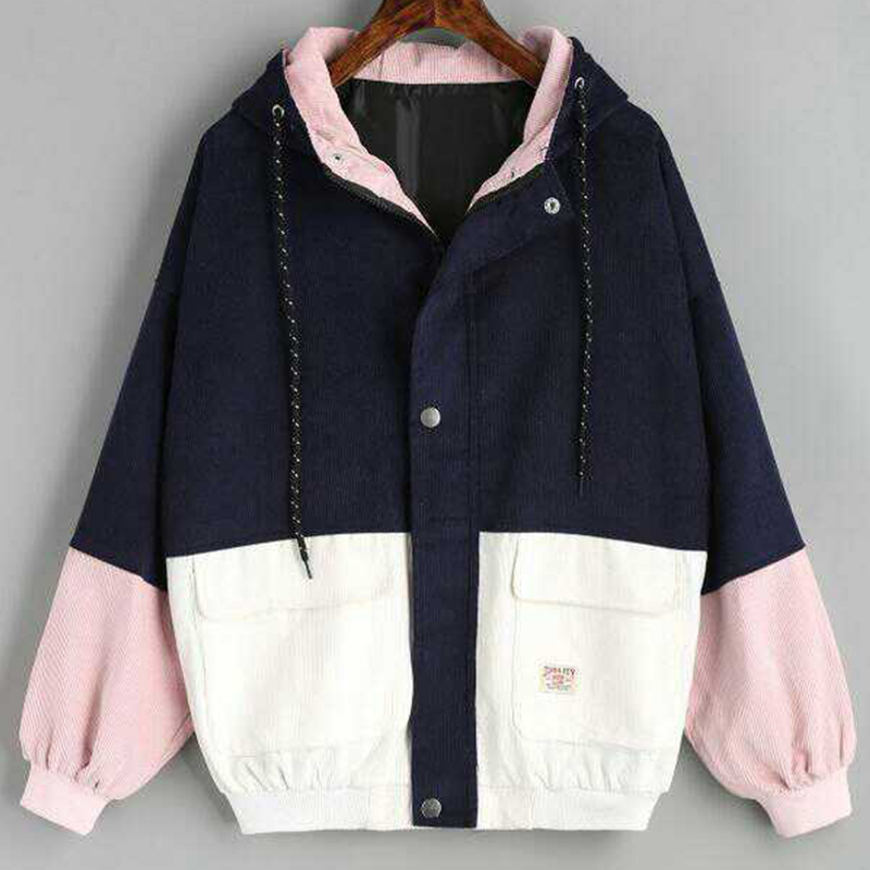 2019 Autumn Womens Color Block Hooded Corduroy   Jacket   Drawstring Hit Color Patched Pocket Thick   Basic   Women Harajuku New Coat