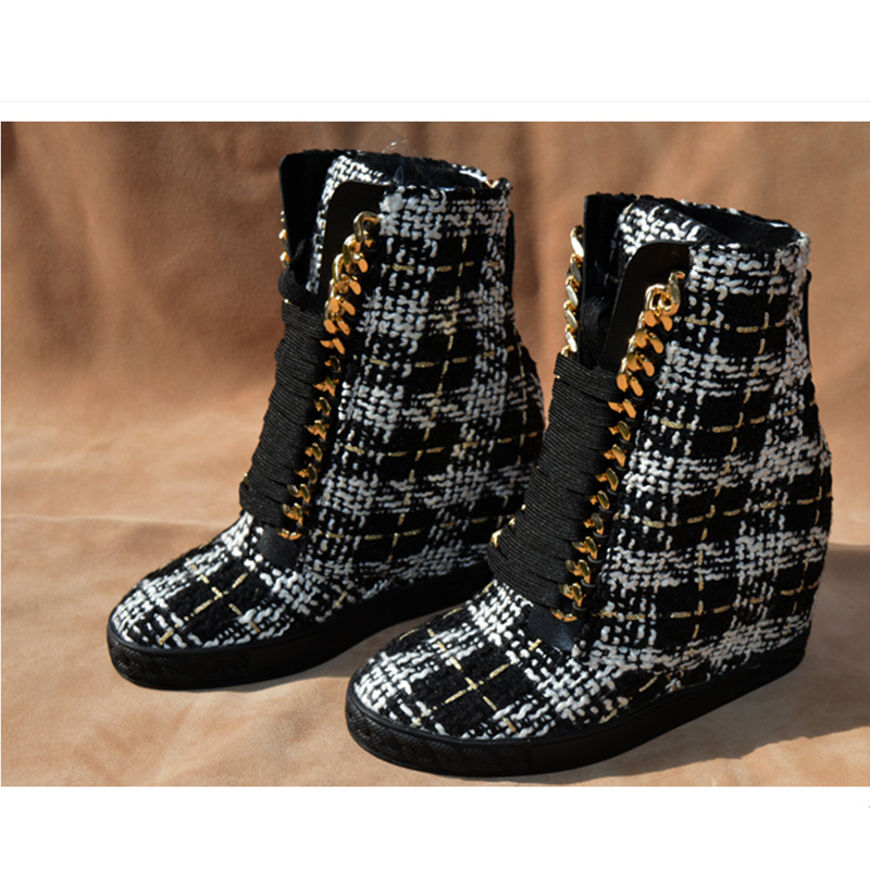 Height Increasing Women Ankle Boots Lace Up Gold Chain Design Winter Boot Luxury Brand Wedges Runway Star Show Shoes Mixed Color princess sweet punk shoes loliloli yoyo japanese design custom black flock lace up fox skin fur wedges short boots 4174