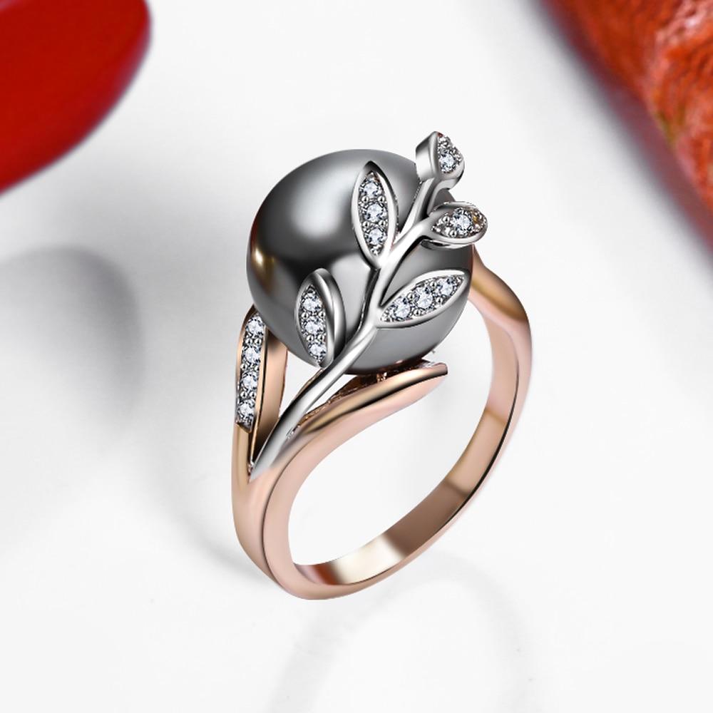 Rozā zelta gredzens ar pelēku pērli sievietēm Leaf Trendy - Modes rotaslietas - Foto 3