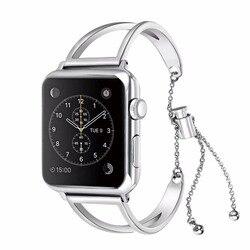 Moda Paslanmaz Çelik Bilezik Kordonlu Saat Için apple Izle serisi 4 3 2 1 yedek askı için apple iwatch 44/ 42/40/38 kadın