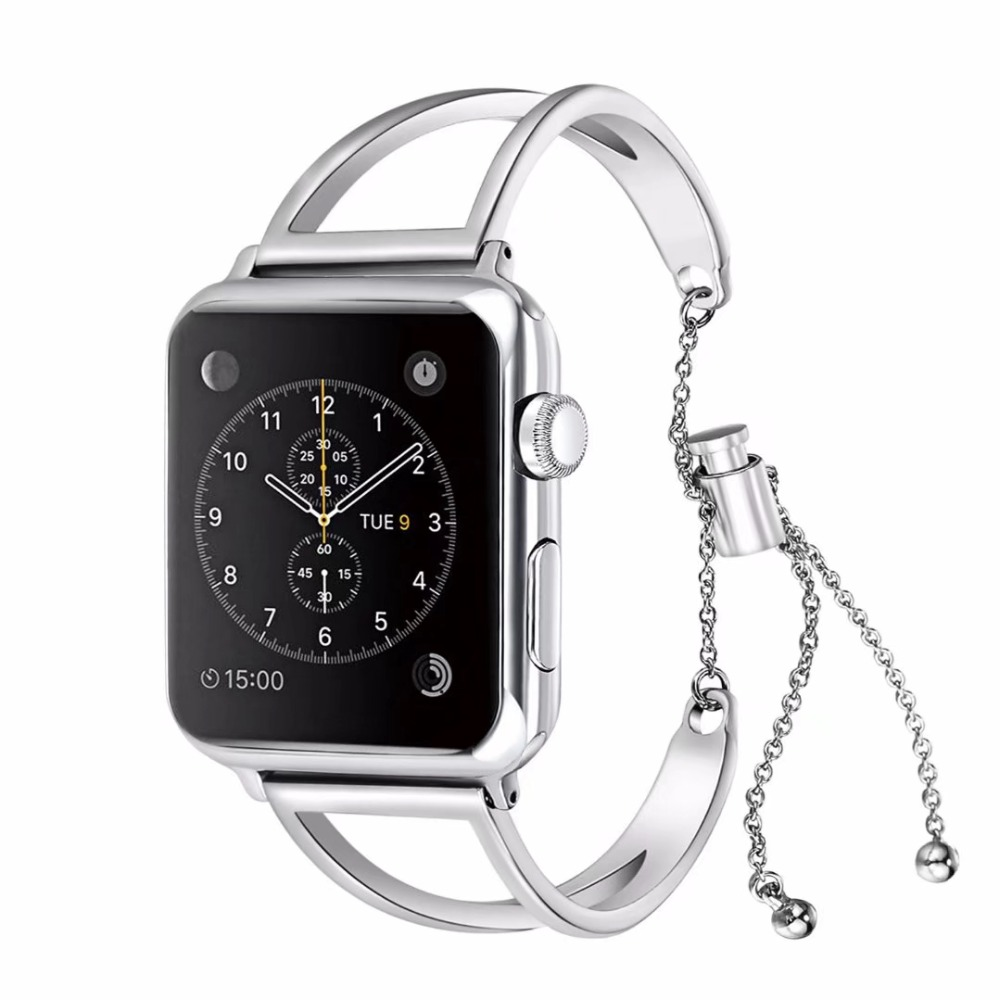 Pulsera de acero inoxidable de moda para apple Watch series 4 3 2 1 correa de repuesto para apple iwatch 44/42/40/38 mujeres