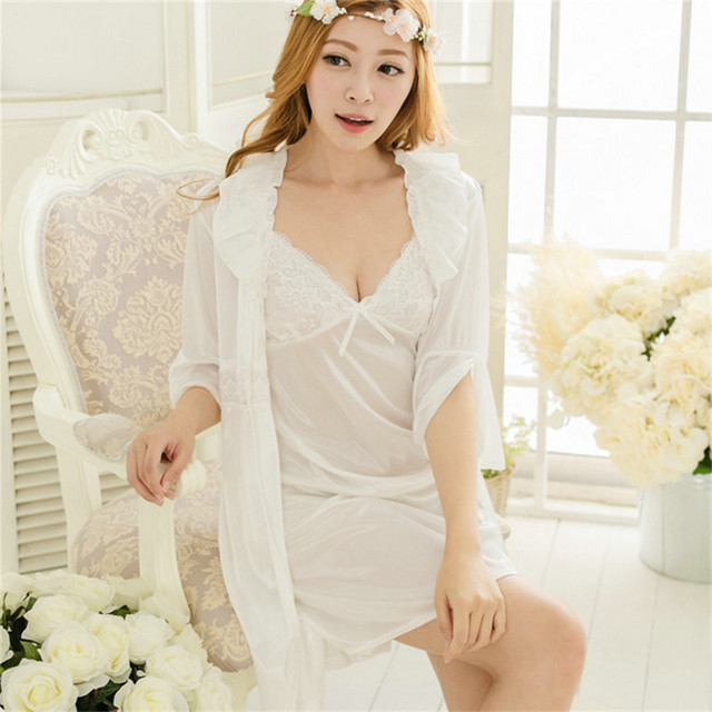 new women Rayon Deep V-neck Sling skirt Sexy Robe Two-piece Household pajamas Embroidery printing  Lace Princess dress