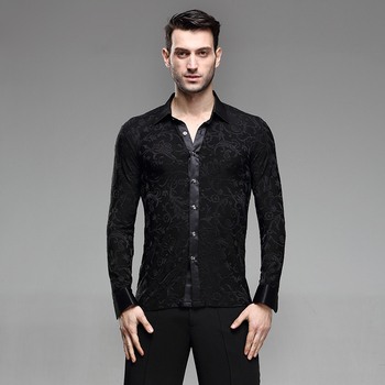 2018 Men Latin Dance Tops for Male Black Long Sleeve Height Quality Fabric Shirt New Men Ballroom Competitive Shirts
