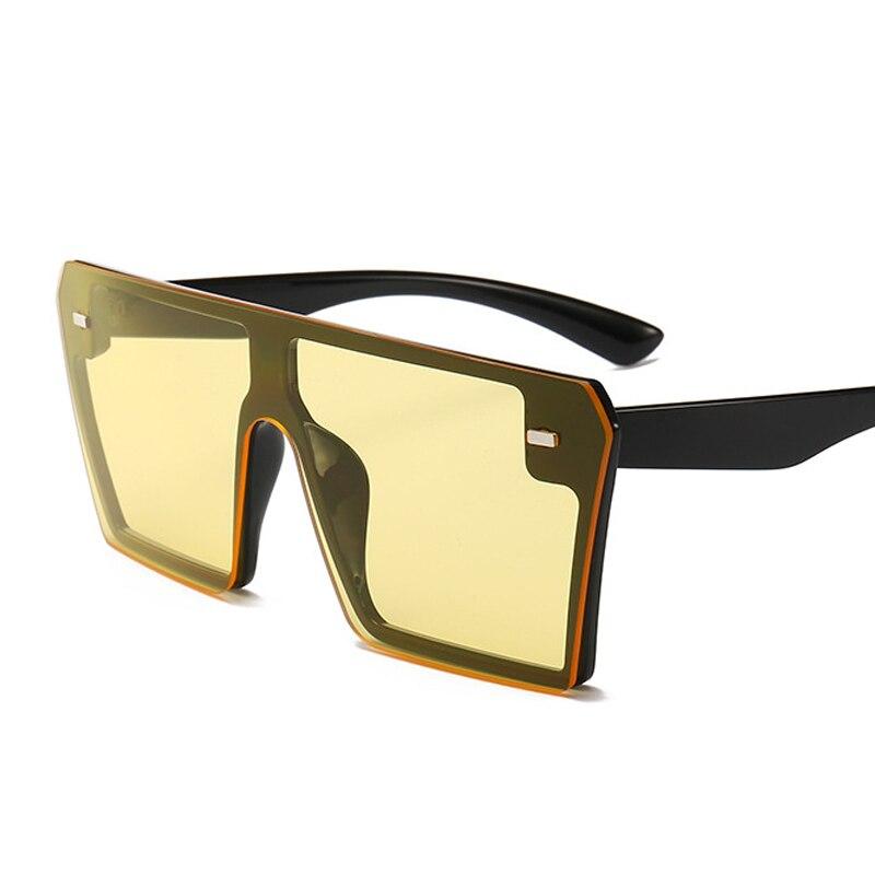 Oversized Square Sunglasses Women 2021 Luxury Brand Fashion Flat Top Red Black Clear Lens One Piece Men Gafas Shade Mirror UV400 9