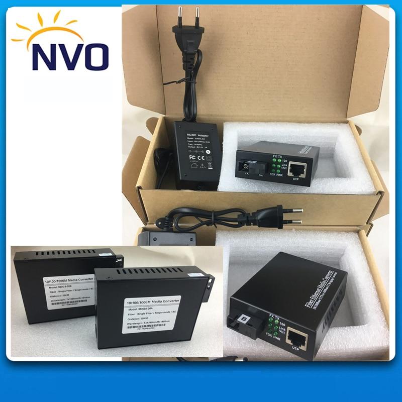 10/100/1000M Single Fiber,SM,20KM,SC,External Power Supply,Euro Charger,Gigabit Ethernet Fiber Media Converter