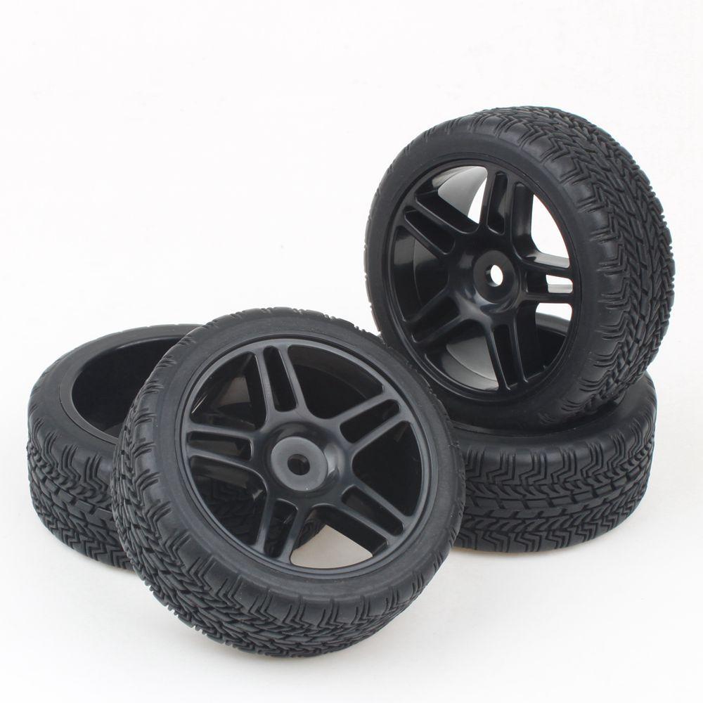 Black 5 Stars Plastic Wheel Rim&Soft Tires Tyre for HSP