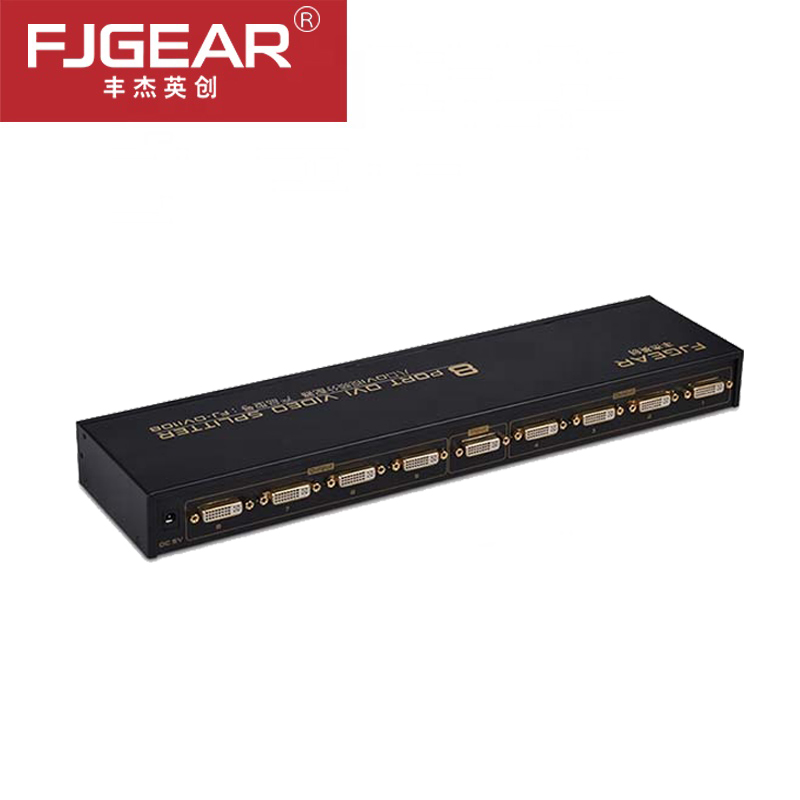 8 Port DVI Splitter 1X8 Dual Link DVI-D Up To 1920x1440 DVI Video Splitter Support 3D 1080P With Power Supply