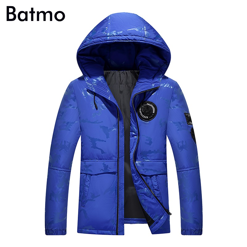 Batmo 2017 new arrival high quality camouflage white duck down hooded jacket men,winter coat men,Windproof,7088