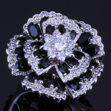 Very Good Huge Flower Black Cubic Zirconia White CZ 925 Sterling Silver Ring For Women V0533