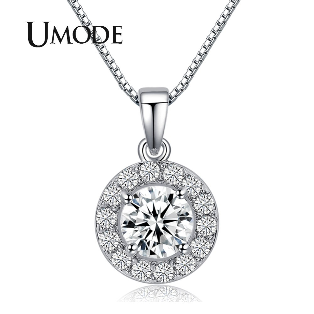 UMODE Hearts & Arrows Cut 0.6 Carat Top Quality AAA+ CZ Cubic Zirconia Round Pendant Necklace UN0012