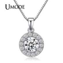 Hearts & Arrows cut Top Quality 0.6 carat Swiss CZ Diamond Round Pendant Necklace (Umode UN0012)