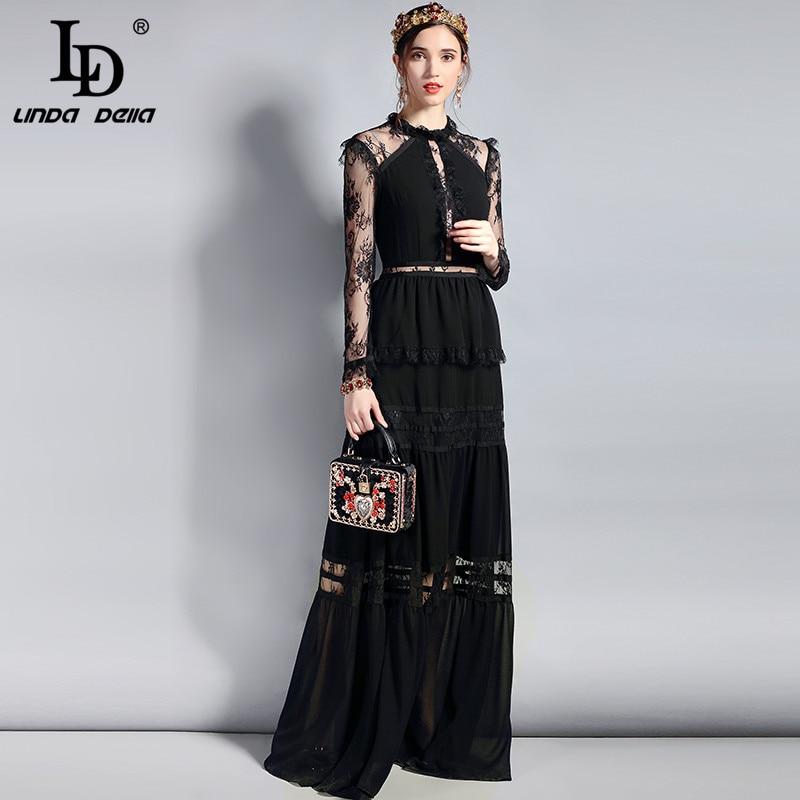 LD LINDA DELLA  Fashion Designer Long Party Dress Women's Long Sleeve Vintage Lace Hollow Out Patchwork Maxi Black Dress