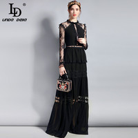 LD LINDA DELLA Fashion Designer Long Party Dress Women's Long Sleeve Vintage Lace Hollow out Patchwork Maxi Black Dress