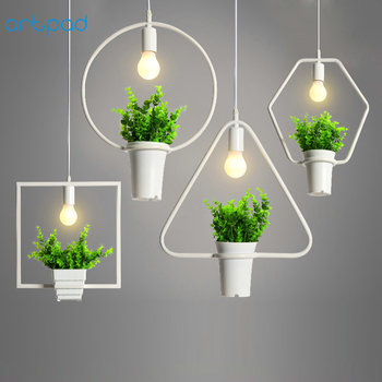 цена Artpad Countryside Green Plant Iron Pendant Light Black White Living Room Bar Restaurant Creative Decor Hanging Pendant Lamp E27 онлайн в 2017 году