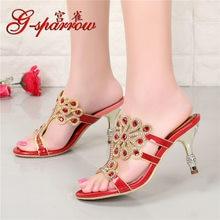 New Luxury Diamond Stiletto High Heels Slippers Online Shopping Peep Toe  Women s Shoes Sale High Quality Gold Purple Black Red 5efbc7345fdd