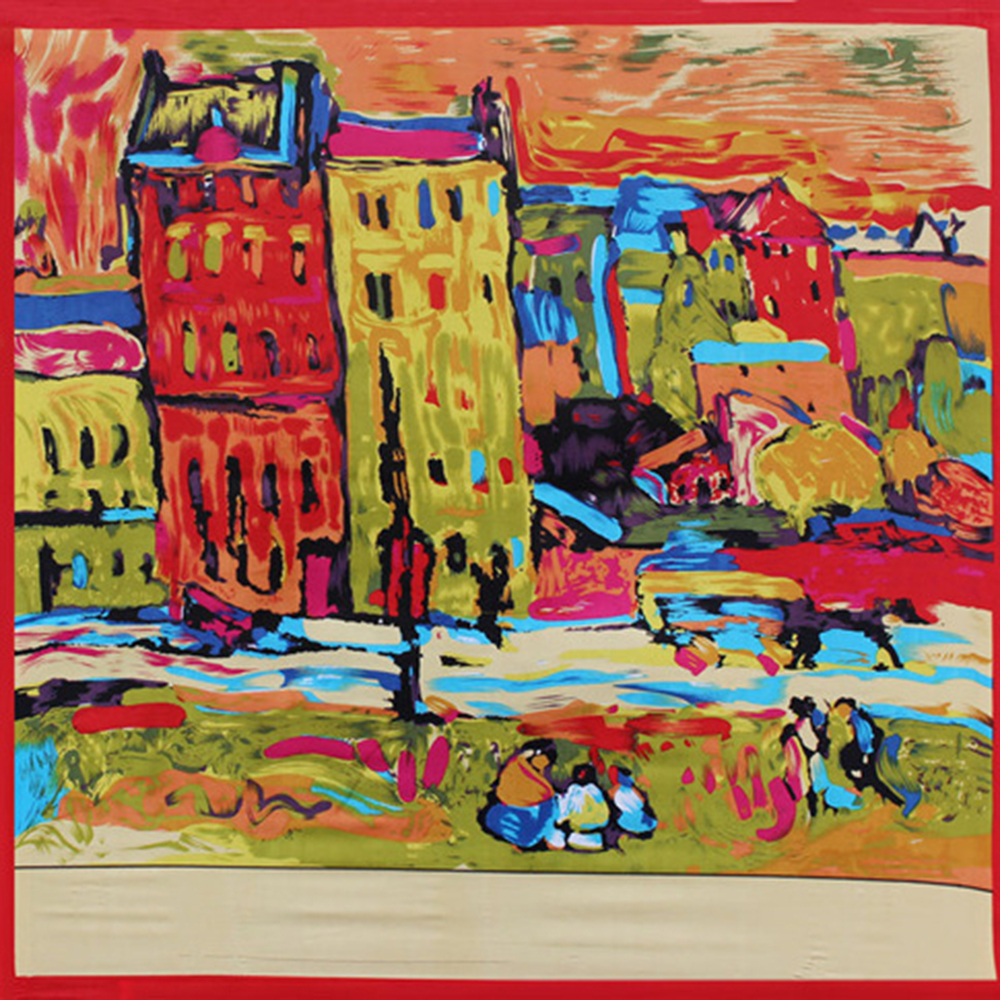 Square   Scarves   Ladys Silk Scarfs Shawls Van Gogh Red House Painting Kerchief Luxury Artistic   Wraps   Summer Multicolor 90*90cm