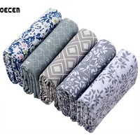 Gray Coor Floral Series Quilting Cotton Fabric Meter Ewing Tissues Of Kids Bedding Skirt Home Textile
